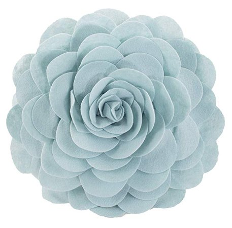 Light Blue Rose Throw Pillow