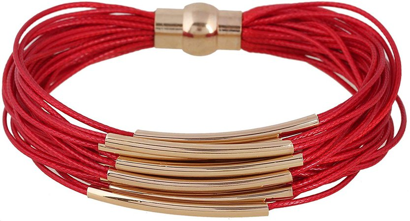 Amazon.com: D EXCEED Multi Row Magnetic Clasp Bangle Bracelet for Women and Ladies Red: Jewelry
