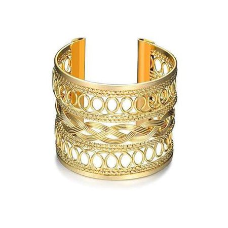 Fashion Gold Plated Hollow Pattern Bangle Upper Arm Cuff Armlet Armban – Jewelry Celebrity