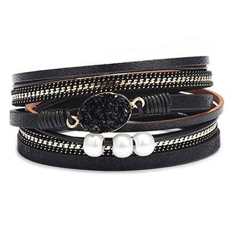 Amazon.com: AZORA Womens Leather Wrap Bracelet Handmade Pearls Beads Cuff Bangle Bracelets for Women Girls (Black - druzy Stone Bracelet): Gateway