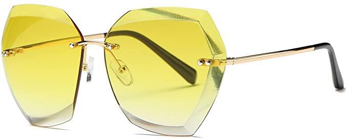 Amazon.com: AEVOGUE Sunglasses For Women Oversized Rimless Diamond Cutting Lens Sun Glasses AE0534 (Gold&Pink, 63): Clothing
