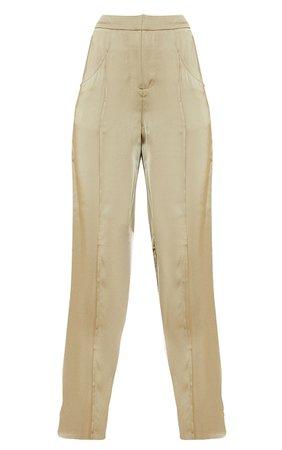 White Satin Pintuck Pocket Wide Leg Trousers | PrettyLittleThing USA