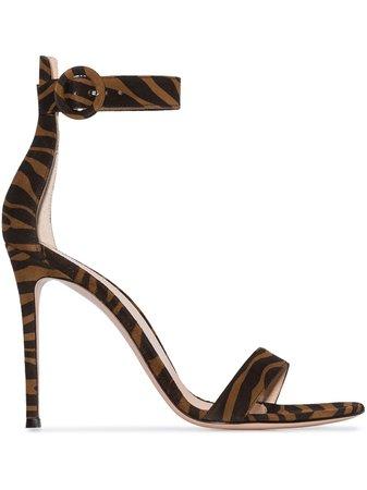 Shop black & brown Gianvito Rossi Portofino 105mm zebra-print suede sandals with Afterpay - Farfetch Australia