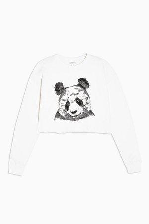 Cream Panda Cropped Sweatshirt | Topshop