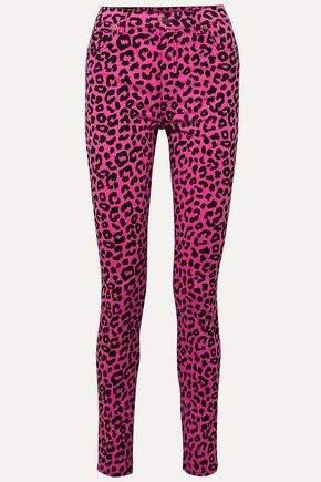 Leopard-print High-rise Skinny Jeans