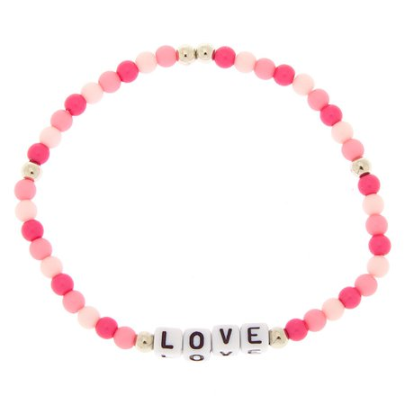 Love Beaded Stretch Bracelet - Pink | Claire's US