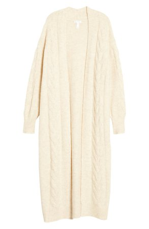 Leith Cozy Cable Knit Longline Cardigan   Nordstrom