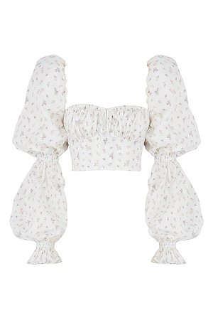Clothing : Tops : 'Millicent' White Floral Cropped Corset Top