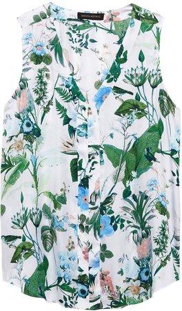 Botanical Print Sleeveless V-Neck Top