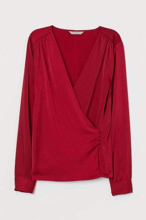 V-neck Wrapover Blouse - Red