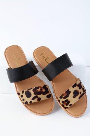 Cute Leopard Print Sandals - Slide Sandals - Flat Sandals
