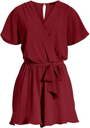 Amazon.com: REORIA Womens Summer V Neck Ruffles Short Sleeve Belted Wrap Short Jumpsuit Rompers: Clothing