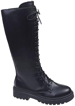 Amazon.com | CELNEPHO Womens Over The Knee Boots, Lace Up Zip Low Chunky Heel Motorcycle Combat Knee High Boots | Over-the-Knee