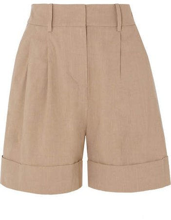 Shiana Pleated Linen-blend Shorts - Sand