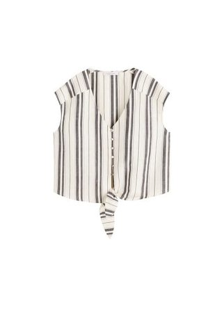 Violeta BY MANGO Knot stripped blouse