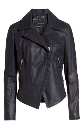 Marc New York Feather Leather Moto Jacket | Nordstrom