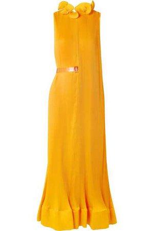 Tibi   Ruffled plissé-satin midi dress   NET-A-PORTER.COM