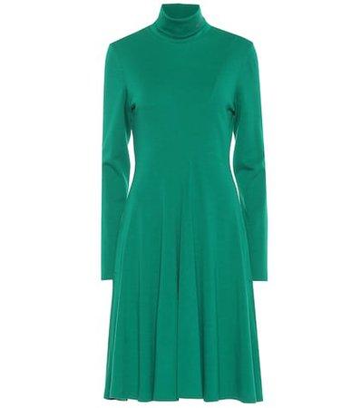 Wool jersey turtleneck dress
