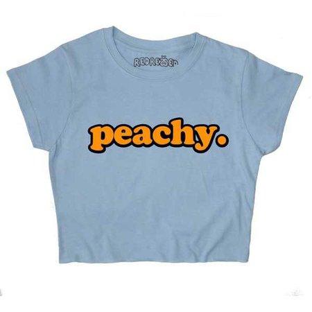 """Blue """"Peachy"""" Cropped T-Shirt"""