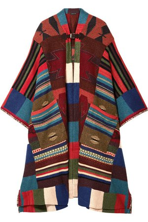 Etro | Fringed leather-trimmed wool-blend cape | NET-A-PORTER.COM