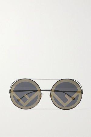 Black Round-frame metal sunglasses | Fendi | NET-A-PORTER