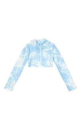 Light Blue Tie Dye Zip Through Cropped Hoodie | PrettyLittleThing USA