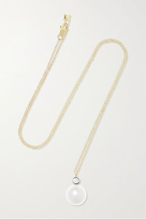 Gold 14-karat gold, pearl and diamond necklace | Mateo | NET-A-PORTER