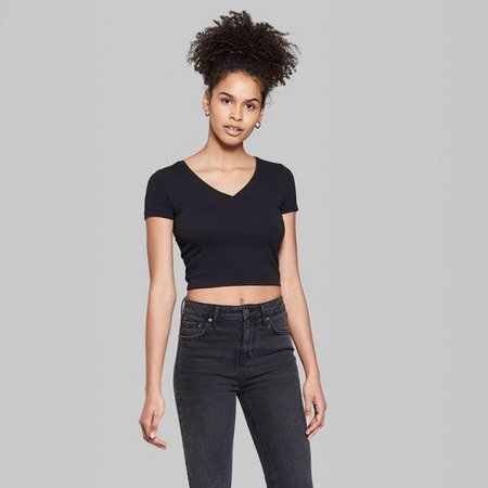 Black V Neck Crop Top