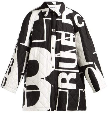 Logo Printed Quilted Cotton Coat - Womens - Black White