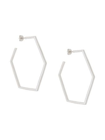 Silver Rachel Jackson hexagonal hoop earrings - Farfetch