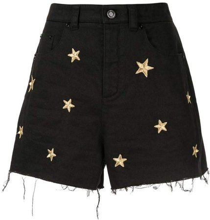 star embroidered denim shorts