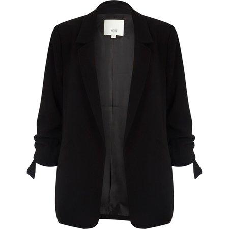 Black rouche sleeve open front blazer - Blazers - Coats & Jackets - women