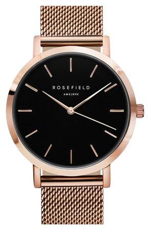 Rosefield Mercer Mesh Strap Watch, 38mm | Nordstrom