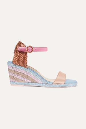 Metallic Lucita metallic satin espadrille wedge sandals | Sophia Webster | NET-A-PORTER