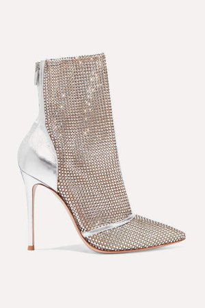 105 Crystal-embellished Metallic Leather And Mesh Ankle Boots - Silver
