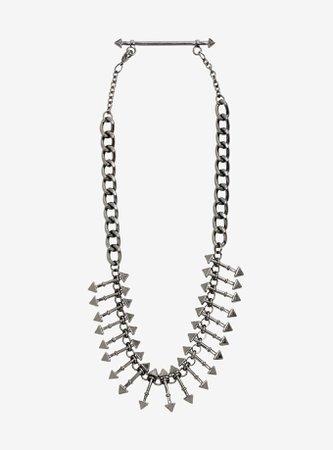 Blackheart Hematite Pyramid Stud Barbell Statement Necklace