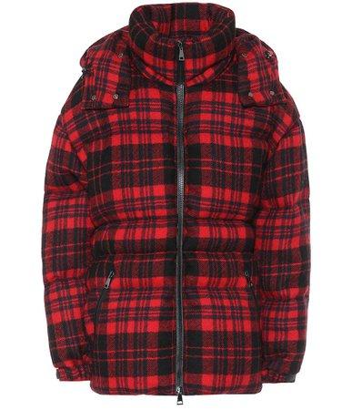 Checked Wool Down Coat | Moncler - Mytheresa