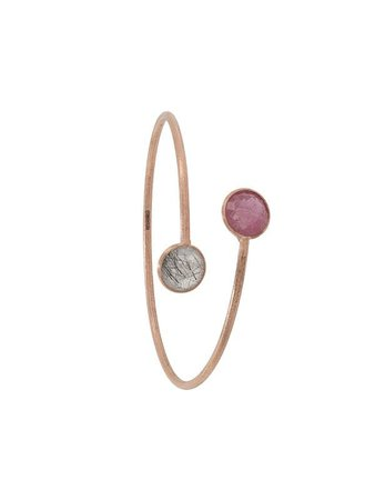 Shop pink & silver Tateossian 14kt rose gold ruby round Kensington bangle with Express Delivery - Farfetch