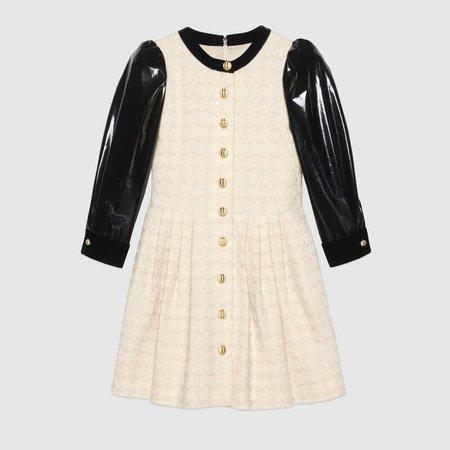 Houndstooth tweed dress with vinyl sleeves | GUCCI® PT