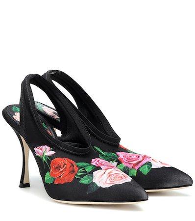 Lori floral satin slingback pumps