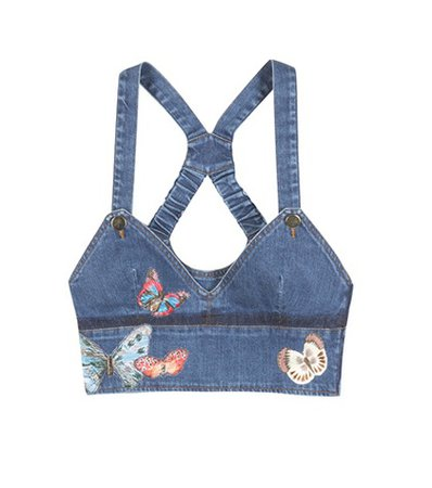 Denim cropped top with appliqué