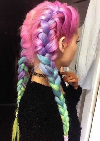 Pastel Rainbow Hair braid