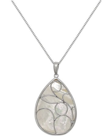 Macy's Caged Teardrop of Genuine White Mother of Pearl Pendant Set in Sterling Silver