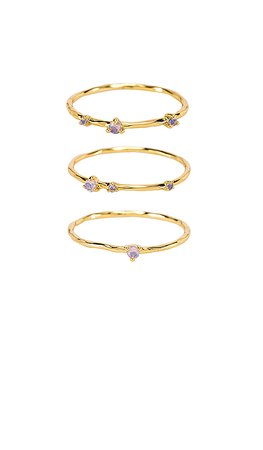 gorjana Cleo Ring Set in White Opalite | REVOLVE