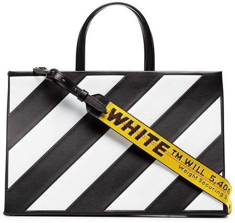 Striped Medium Leather Tote Bag