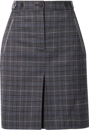 Meki Checked Wool-blend Mini Skirt - Gray