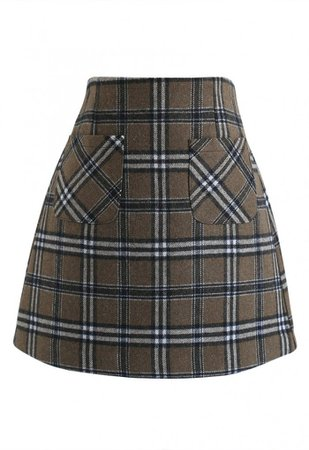 Plaid Pattern Front Pocket Wool-Blend Bud Skirt - Skirt - BOTTOMS - Retro, Indie and Unique Fashion
