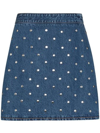 GANNI Studded Denim Skirt - Farfetch