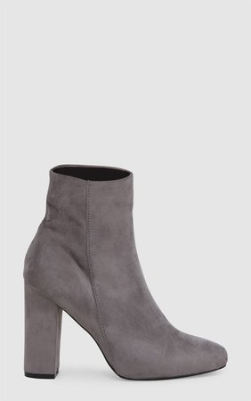 Grey Faux Suede Ankle Boots | PrettyLittleThing USA