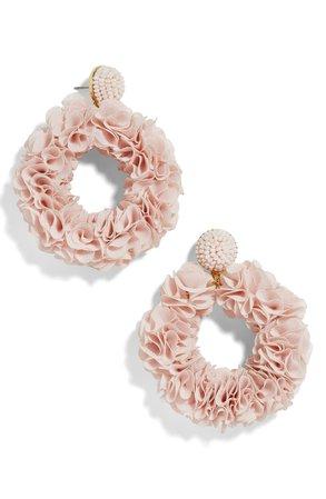 BaubleBar Camellia Floral Hoop Drop Earrings | Nordstrom